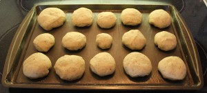 Buns shaped into varying sizes.
