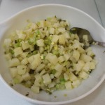 Mix potatoes with celery, pickle and onion.