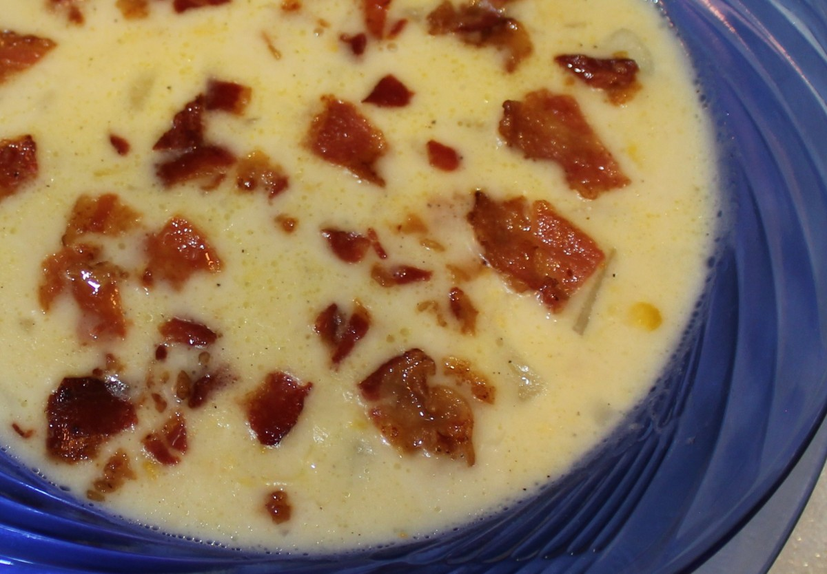 Potato and corn chowder with bacon